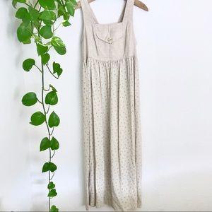 Overall Linen Babydoll Floral Vintage Dress